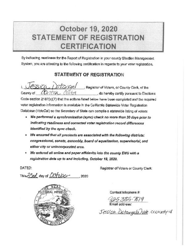 Statement of Registration