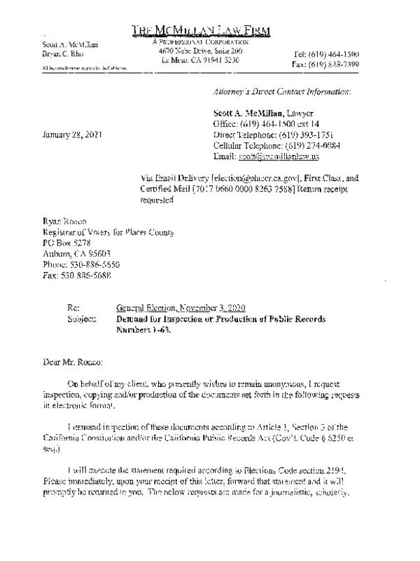 Jan 28, 2021 Letter to Placer County Re Records